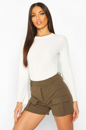 Womens Khaki Utility Pocket Shorts