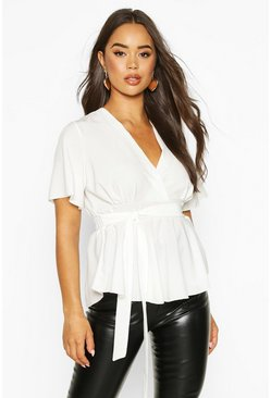 Womens Ivory Wrap Front Tie Back Blouse