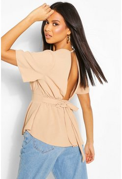 Stone Wrap Front Tie Back Blouse