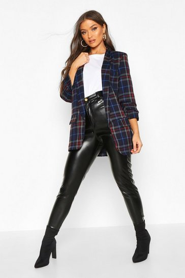 Womens Navy Tartan Ruched Sleeve Blazer
