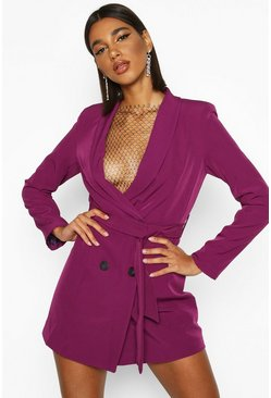 Womens Magenta Double Breasted Belted Blazer Dress