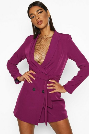 Magenta Double Breasted Belted Blazer Dress