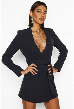 Womens Navy Double Breasted Belted Blazer Dress