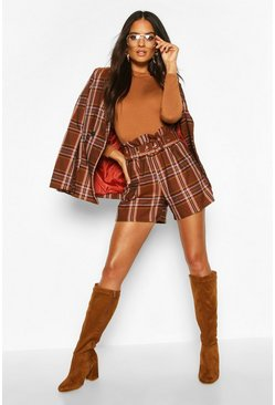 Dark red Check Belted City Short