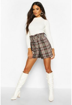 Womens Grey Check Belted City Short