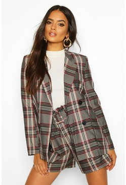 Womens Grey Check Double Breasted Blazer