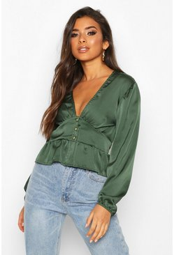 Green olive Satin Button Through Peplum Hem Blouse