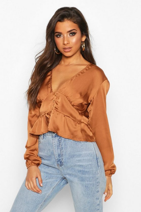 Rust Satin Button Through Peplum Hem Blouse