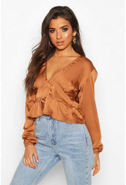 Womens Rust Satin Button Through Peplum Hem Blouse