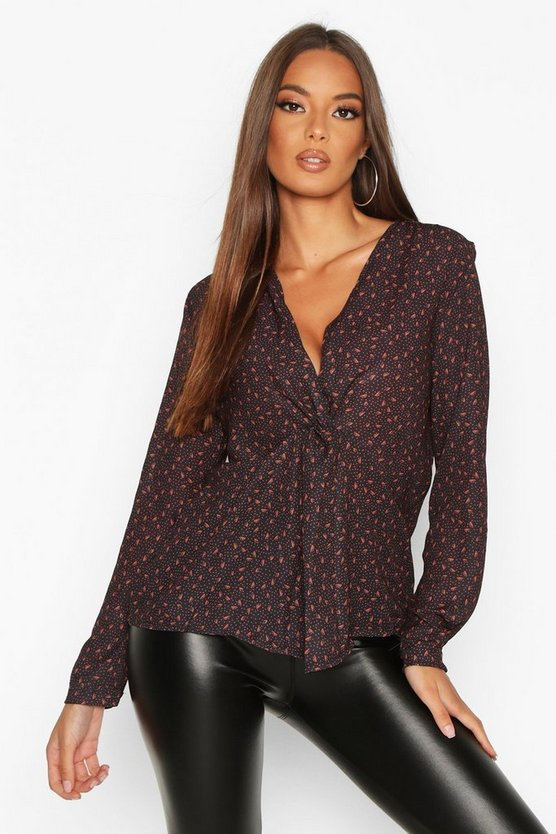 Black Ditsy Print Knot Front Blouse