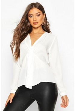 Womens White Knot Front Blouse