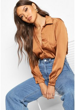 Womens Mocha Oversized Pocket Detail Satin Shirt