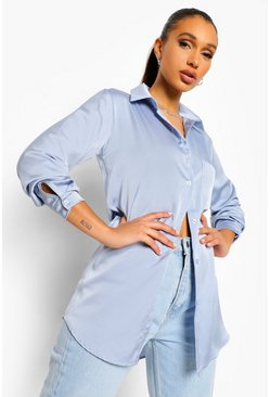 Slate Oversized Pocket Detail Satin Shirt