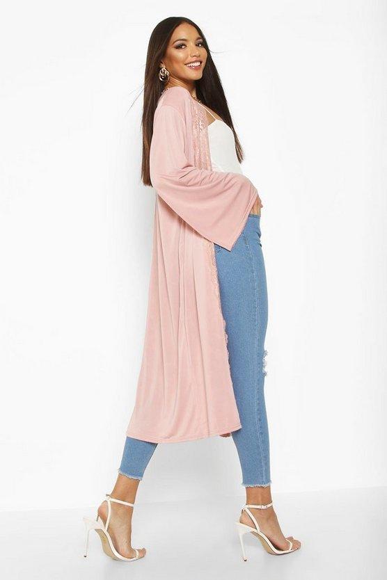 Lace Trim Maxi Kimono