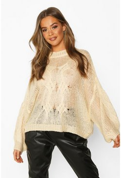 Cream Mohair Look Oversized Sweater