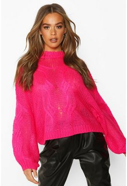 Womens Fuchsia Mohair Look Oversized Jumper
