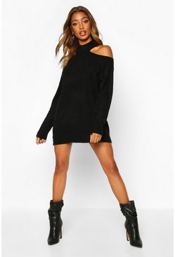 Black Cut Out Shoulder Knitted Sweater Dress