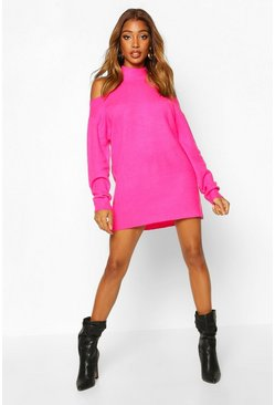Fuchsia Cut Out Shoulder Knitted Sweater Dress