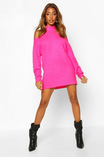 Womens Fuchsia Cut Out Shoulder Knitted Jumper Dress
