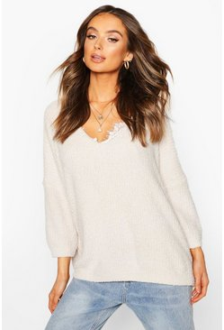 Cream Fluffy V Neck Oversized Jumper