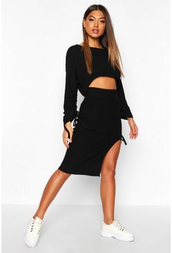 Womens Black Ruched Sleeve Column Skirt Co -Ord