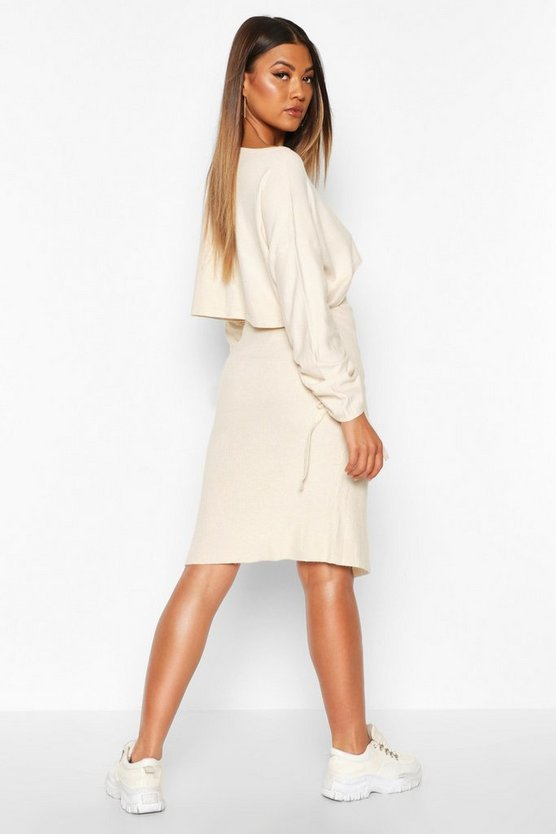 Ruched Sleeve Column Skirt Co -Ord