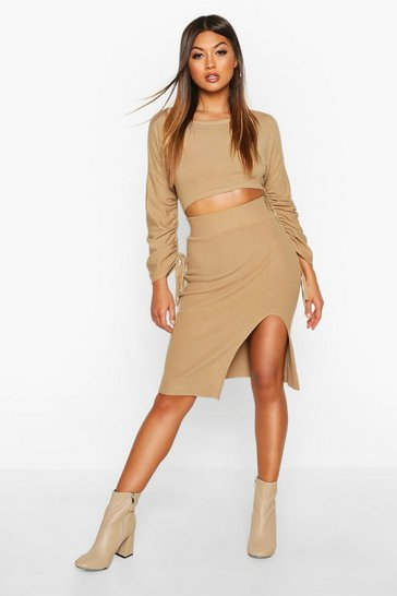 Camel Ruched Sleeve Column Skirt Co -Ord
