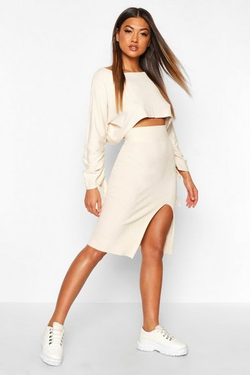 Stone Ruched Sleeve Column Skirt Co -Ord