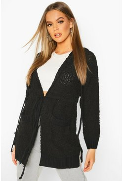 Black Popcorn Knit Hooded Cardigan