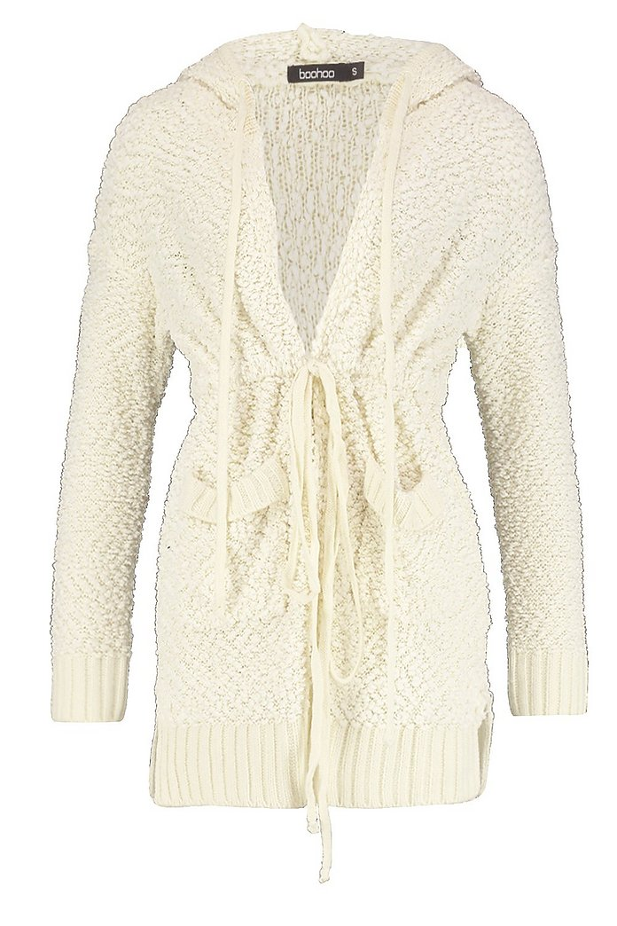 Popcorn Knit Hooded Cardigan cream