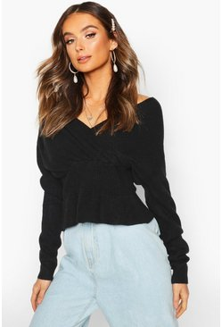 Womens Black Off Shoulder Fluffy Knit Top