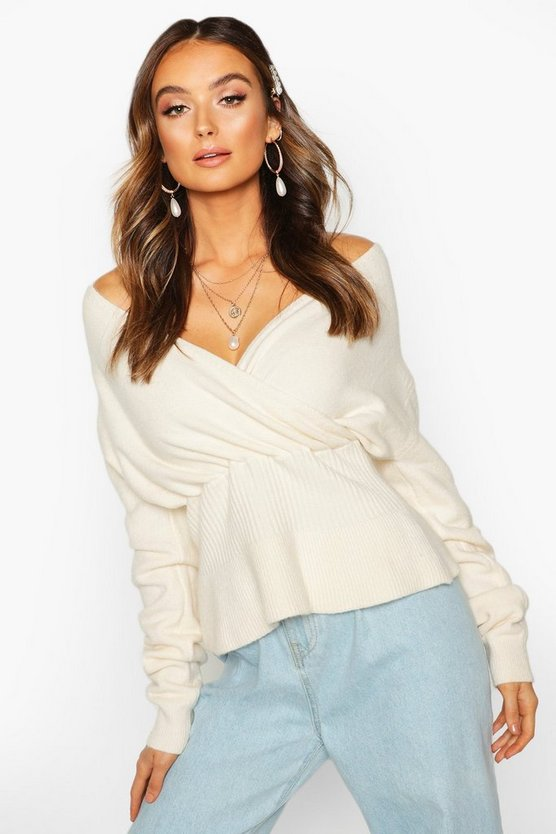 Off Shoulder Fluffy Knit Top