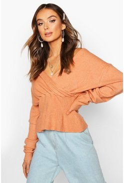 Rose Off Shoulder Fluffy Knit Top