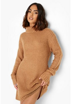 Toffee Roll Neck Fisherman Jumper Dress