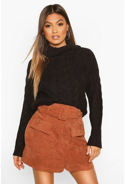 Black Roll Neck Cable Knit Jumper