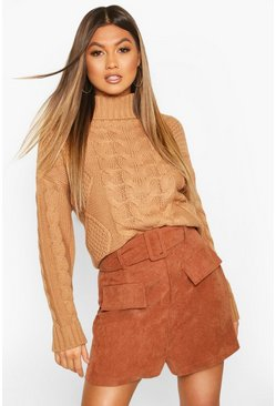 Toffee Roll Neck Cable Knit Jumper