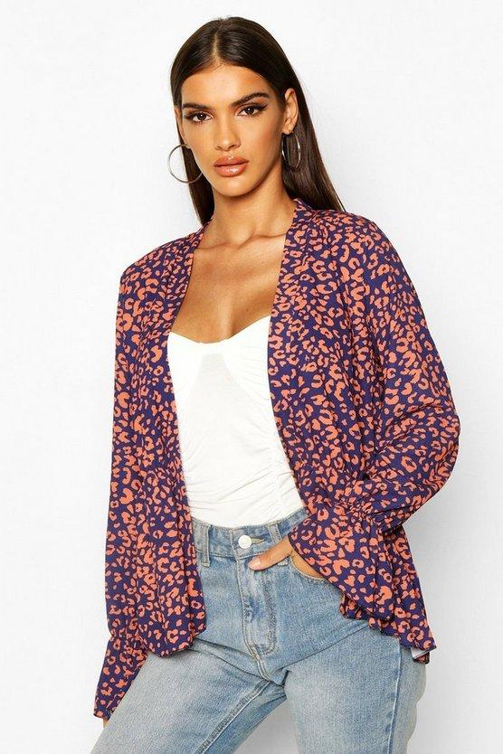 Leopard Peplum Kimono