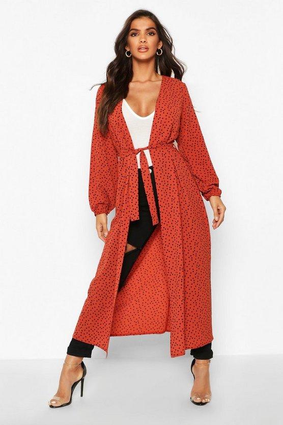 Polka Dot Maxi Woven Belted Kimono