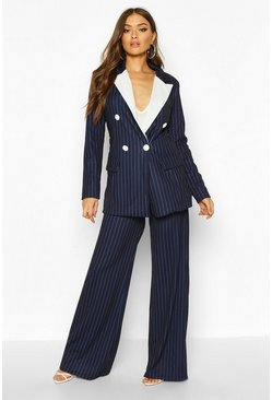 Womens Navy Pinstripe Tailored Wide Leg Trousers