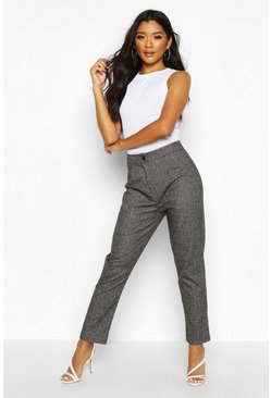 Black Woven Check Tapered Trousers