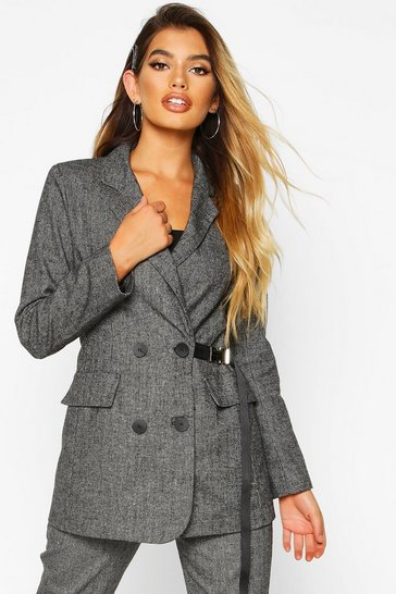 Womens Black Buckle Detail Utility Woven Check Blazer