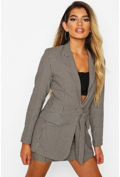 Brown Check Buckle Detail Blazer