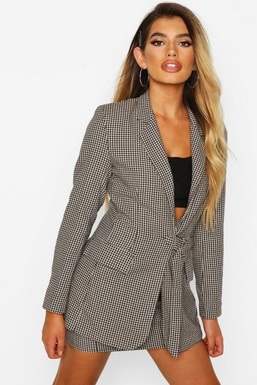 Womens Brown Check Buckle Detail Blazer