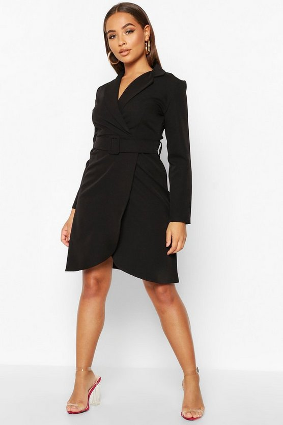 Womens Black Wrap Belted Blazer Dress