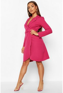 Womens Fuchsia Wrap Belted Blazer Dress