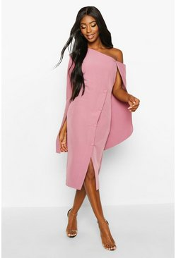 Rose Cape Detail One Shoulder Cover Button Dress