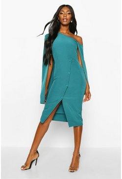 Teal Cape Detail One Shoulder Cover Button Dress