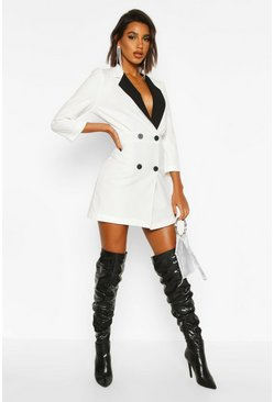 Dam White Contrast Collared Volume Sleeve Blazer Dress