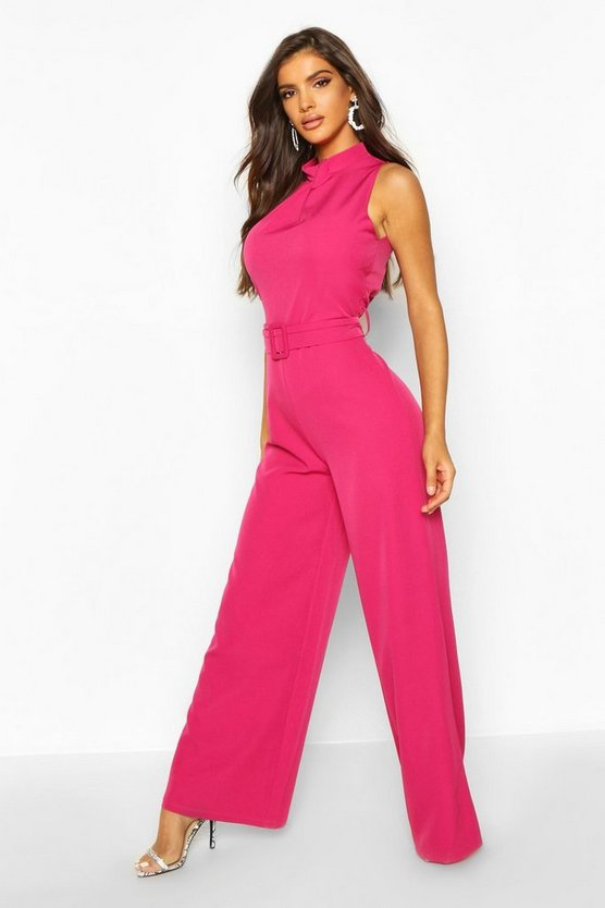 Womens Hot pink Belted High Neck Sleeveless Tailored Jumpsuit