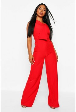 Womens Red One Shoulder Wide Leg Jumpsuit